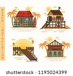 hut at beach  bar and pier ... | Shutterstock .eps vector #1195024399