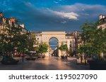 dijon triumphal arch square  a... | Shutterstock . vector #1195027090