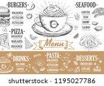restaurant cafe menu  template... | Shutterstock .eps vector #1195027786