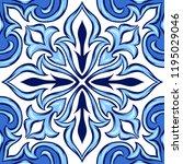 portuguese azulejo ceramic tile.... | Shutterstock .eps vector #1195029046