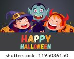 happy halloween cartoon friends ... | Shutterstock .eps vector #1195036150