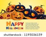 happy halloween bright yellow... | Shutterstock .eps vector #1195036159