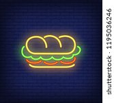 sandwich neon sign. glowing... | Shutterstock .eps vector #1195036246
