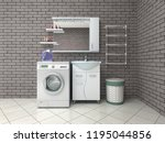 bathroom with washing machine.... | Shutterstock . vector #1195044856