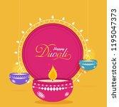 flat style happy diwali... | Shutterstock .eps vector #1195047373