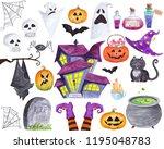 watercolor halloween elements... | Shutterstock . vector #1195048783