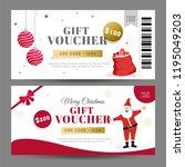 creative gift voucher set with... | Shutterstock .eps vector #1195049203