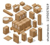 a set of cardboard boxes for... | Shutterstock .eps vector #1195057819