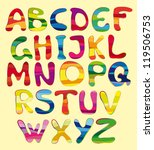set of the striped letters on a ... | Shutterstock .eps vector #119506753