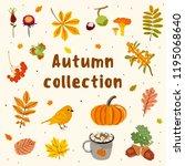 autumn objects vector... | Shutterstock .eps vector #1195068640