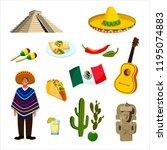 symbols of  mexico   Shutterstock .eps vector #1195074883