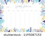 cute vector weekly planner... | Shutterstock .eps vector #1195087153