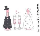 wedding champagne  bottles in... | Shutterstock .eps vector #119508778
