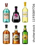 alcohol drinks in a bottle with ... | Shutterstock .eps vector #1195089706
