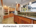 luxurious kitchen room with... | Shutterstock . vector #1195090723