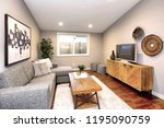 living room in neutral colors... | Shutterstock . vector #1195090759