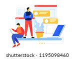 team of young programmers.... | Shutterstock .eps vector #1195098460