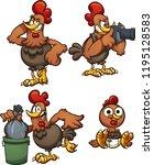 cartoon chicken in different... | Shutterstock .eps vector #1195128583