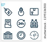 simple set of  9 outline icons...   Shutterstock . vector #1195136503
