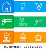 simple set of  9 outline icons... | Shutterstock .eps vector #1195171990