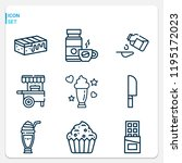 simple set of  9 outline icons...   Shutterstock .eps vector #1195172023