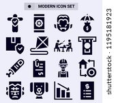 set of 16 people filled icons... | Shutterstock . vector #1195181923