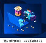watch the movie online with a...   Shutterstock .eps vector #1195186576