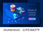 watch the movie online with a... | Shutterstock .eps vector #1195186579