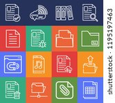 set of 16 file outline icons... | Shutterstock . vector #1195197463