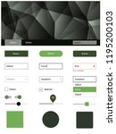 dark green vector ui ux kit in...