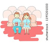 boy and girl watching movie | Shutterstock .eps vector #1195201033