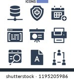 set of 9 web filled icons such... | Shutterstock . vector #1195205986