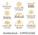 vector henna mehndi logo set....   Shutterstock .eps vector #1195211260
