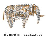 elephant abstract ornament  | Shutterstock .eps vector #1195218793