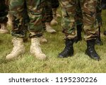legs of soldiers in black and... | Shutterstock . vector #1195230226
