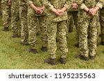 soldiers from the back. troops  ... | Shutterstock . vector #1195235563