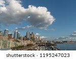 beautiful clouds over seattle... | Shutterstock . vector #1195247023