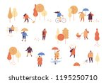 autumn park with people. people ... | Shutterstock .eps vector #1195250710