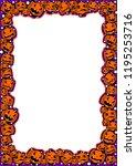 halloween frame with pumpkins... | Shutterstock .eps vector #1195253716