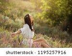 enjoyment   free happy woman... | Shutterstock . vector #1195257916