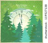 Retro new year card with clock and fir-trees. - stock vector