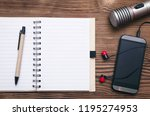 mobile phone  blank page note... | Shutterstock . vector #1195274953