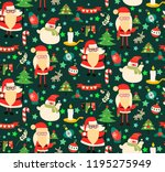 cute funny christmas pattern... | Shutterstock .eps vector #1195275949