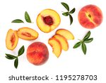 Ripe Peaches With Leaves...