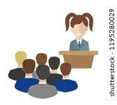 female speaker doing... | Shutterstock .eps vector #1195280029