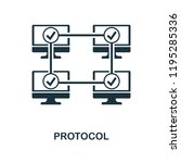protocol icon. monochrome style ... | Shutterstock .eps vector #1195285336