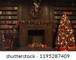 christmas interior with... | Shutterstock . vector #1195287409