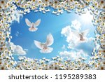 3d background  chamomiles  blue ... | Shutterstock . vector #1195289383
