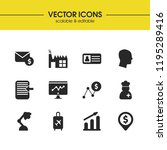 trade icons set with static ...