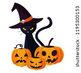 happy halloween pumpkins with... | Shutterstock .eps vector #1195300153